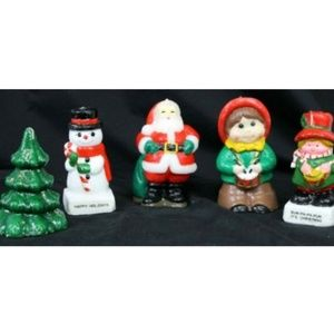 Vtg 80s Sculpted/Molded Christmas Candles Painted